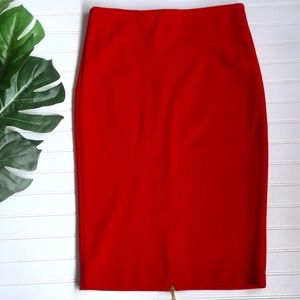 Caché Red Pencil Skirt